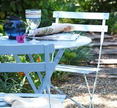 blue garden furniture