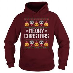This Meowy Christmas hoodie is sure to be loved by any cat lover. It features several cats in an ugly Christmas style pattern. This design is also available in Meowy Christmas sweatshirt as well as t-shirt and other apparel. Other Christmas hoodies and apparel are also available.