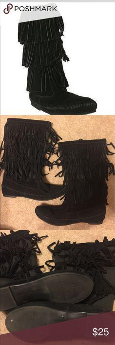 Lauren conrad black fringe boots 8 Lauren conrad black fringe boots size 8 still in great condition! LC Lauren Conrad Shoes Ankle Boots & Booties
