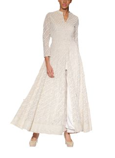 Indian Fashion Designers - Anita Dongre - Contemporary Indian Designer - Gowns - AD-SS14-RR-635B - Refined White Flaring Gown