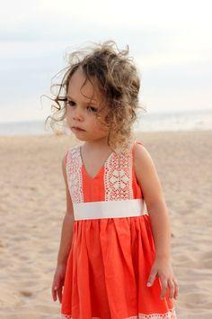 Girls orange dress D22 spring summer birthday door Maliposhaclothes, $61.00