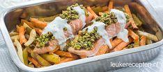Groentefriet met zalm uit de oven - Leuke recepten
