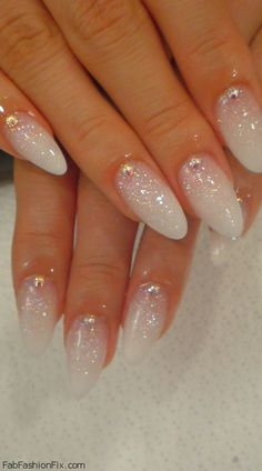 Shimmery White nails