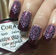 Elegant stamping nail art using El Corazon: ☆ Manhattan ☆ and Uber Chic Beauty plate