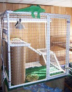 DIY Square PVC Cage - petdiys.com #beardeddragoncagediy