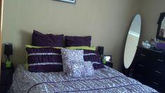 My bedroom layout, simple & purple!