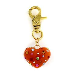 Rare Joan Rivers Gold Tone Orange Candy Coated Heart Purse Charm Mother's Day #JoanRivers #HeartCharm