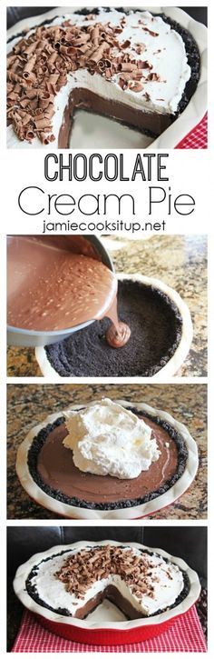 Chocolate Cream Pie  I  Jamie Cooks It Up! This homemade pie (from scratch) is totally easier than you think to make and the taste...good glory, it is pure heaven. :)
