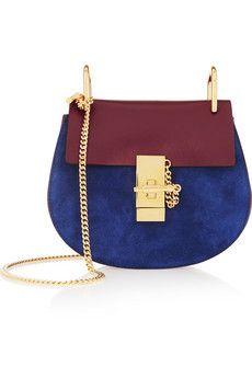 Chloé Drew mini leather and suede shoulder bag | NET-A-PORTER