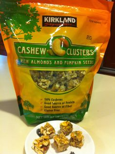 Cashew Clusters with Almonds & Pumpkin Seeds: Found this jumbo bag at Costco. This nut/seed blend is super-healthy and an insanely delicious snack. You get 5 pieces for 150 calories. But be forewarned: they're incredibly addictive and its hard to stop at just 5 pieces!