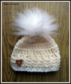***Crochet little fur pompom hat photo prop gift baby shower size newborn | eBay
