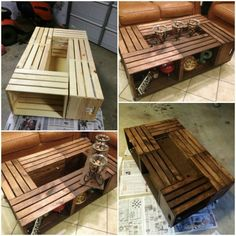 Long crate storage table