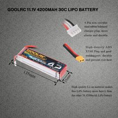 GoolRC 3S 11.1V 4200mAh 30C Li-Po Battery with XT60 Plug for RC Helicopter Car Boat Truck