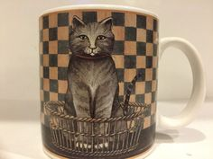 Oneida Country Kitties David Carter Brown Gray Tabby Cat Stoneware Coffee Mug | eBay