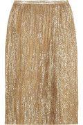 Ports 1961 Metallic crinkled silk-blend skirt.