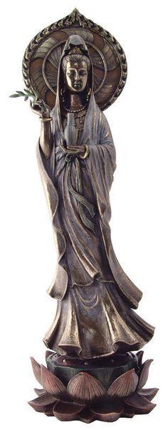17 inch Quan Yin on Lotus Pedestal Statue Bodhisattva Avalokitesvara Figure Mint | eBay