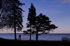 Halifax's Best Wedding Photographer Dustin Hall - Bride and Groom, Silhouette, Lake Ontario, dusk, blue, pink, sunset