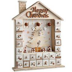 WeRChristmas Décoration de Noël Maison en bois calendrier de l'avent, naturel/beige, 37cm: Notre calendrier de l'avent avec 24tiroirs…