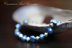 Blue Dyed Pearl Nugget and Silver Tone Metal Bead Stretch