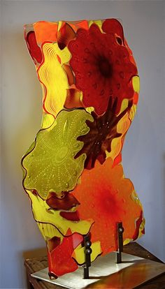 """Harvest Vertical panel 24"""" x 36""""  fused rondels and blown glass"""