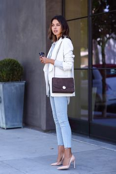structured sling bag with casual chic outfit