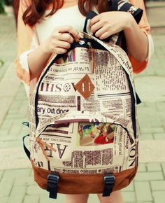 My new backpack for school! - New Fashion Unisex Newspaper Design Print Backpack Schoolbag Shoulder Bag Canvas Backpack, Leather Backpack, Fashion Backpack, Designer School Bags, Divas, Bags 2014, Shoulder Backpack, Shoulder Bags, Shopping