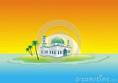 Illustration about Mosque on the island middle of the sea - cartoon design, beautiful view, pretty and funny. Illustration of flat, game, coconut - 77209034 Islamic Cartoon, Natural Scenery, Cartoon Design, Mosque, Middle, Paintings, Sea, Island, Illustration