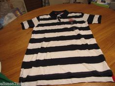 Boy's youth Tommy Hilfiger Polo shirt stripe XL 20 trim fit navy logo TH T881072