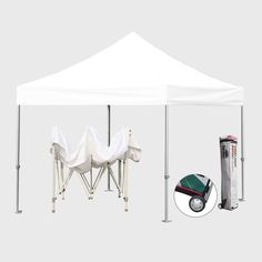 Eurmax Commercial 10 x 10 ft. Canopy Tent White - BAS1010-WHITE & Commercial Grade STD 10x10 White Canopy Tent Pop up Gazebo Canopy ...