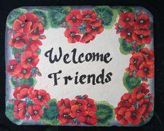 {Geraniums Welcome Signs} www.slatelady.com regina@slatelady.com