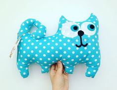 #cat #pillow #toy #softie #handmade #meow #blue #dots #gift #homedecor #remi #remihomedecor #decoration: