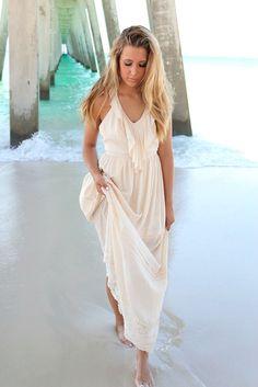 Beach Breeze Cream Halter Top Ruffle Maxi Dress – Amazing Lace
