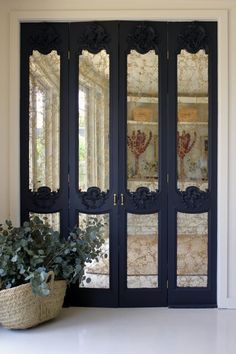 glass accordion doors | Antique glass on folding doors | Home