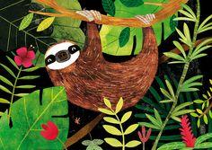 Sloth by CarmenSaldana on Etsy Cute Illustration, Watercolor Illustration, Animal Nursery, Whimsical Art, Elementary Art, Spirit Animal, Art Lessons, Art For Kids, Art Projects