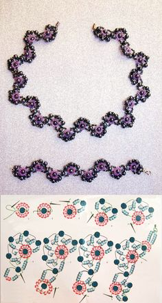 Free pattern for necklace and bracelet Charlize round beads 3-4mm seed beads 11/0