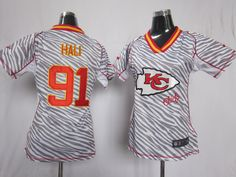 2012 Women's Nike NFL Kansas City Chiefs #91 Tamba Hali Zebra Fashion Elite Jerseys