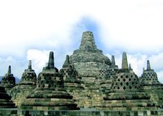 The Top of View the unique temple of Borobudur in Indonesia