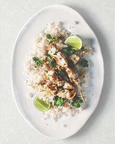Lemongrass, lime + ginger chicken skewers with coconut rice  Chantelle Grady
