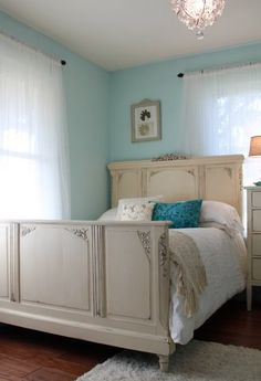 Antique Full Size Bed Painted white carved headboard footboard