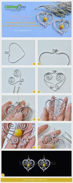 How to Make Wire Wrapped Heart Earrings with Glass Beads and Jade Beads from LC.Pandahall.com