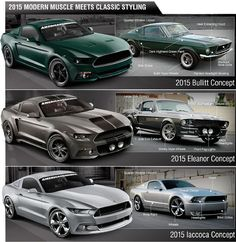 AmericanMuscle Excites With The 2015 Mustang Re-creations: Iacocca, Bullitt, And Eleanor❤️❤️❤️❤️