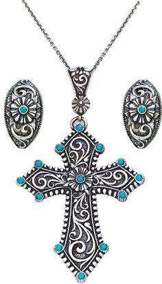 Western Turquoise Passion Flower Cross Necklace and Matching Earrings