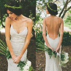 High Quality V-neck Sheath Wedding Dress with Court Train Backless Spagnetti Straps
