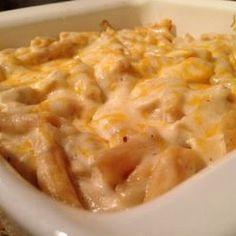 Paula Deen's amazing chicken casserole @keyingredient #cheese #chicken #cheddar #casserole