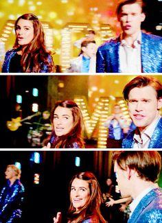 "Rachel and Sam during the ""Break Free"" performance"