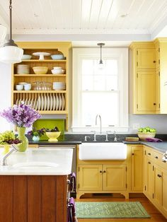 We Love These Mustard Yellow Kitchen Cabinets! See More Low Cost Kitchen  Updates: Decorating Design