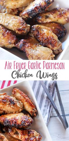 for favorite air fryer recipes? You won't need to look any further if you want a fantastic chicken wing recipe! Juicy, flavorful Air Fryer Garlic Parmesan Chicken Wings are so incredibly easy and quick! Air Fryer Recipes Wings, Air Fryer Recipes Appetizers, Air Fryer Recipes Snacks, Air Fryer Recipes Vegetables, Air Fryer Recipes Low Carb, Air Fryer Recipes Vegetarian, Air Fryer Recipes Breakfast, Air Frier Recipes, Air Fryer Dinner Recipes