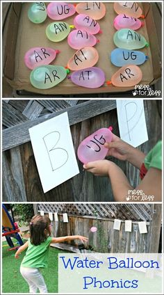 Water Balloons for literacy and phonics teaching! Try writing the sound you are working on the balloon. Draw a chalk target on the concrete, or a fence, and after the child names the letters and says the corresponding sound, let them have a throw at the target! Most children begin to develop sound - symbol correspondence long before formal teaching at school, so start when your child is interested, but they should be able to fluently name single letter sounds by 6 years of age!