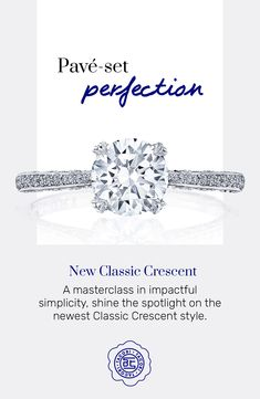 A masterclass in impactful simplicity, meet our newest Classic Crescent style 💍! Maximizing the sparkle effect in effortless style, the slender band is studded with pavé-set diamonds. #Tacori #TacoriRing #solitairering #engagementring #engagementringinspo #dreamring #roundbrilliant Tacori Rings, Tacori Engagement Rings, Antique Engagement Rings, Solitaire Ring, Pear Shaped Diamond, Dream Ring, Master Class, Diamonds, Vintage Fashion