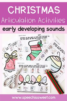 NO PREP articulation activities for Christmas speech therapy! These activities are ideal for December speech therapy. This packet features early developing sounds: /k, g, t, d, p, b, f, v, m/. This articulation activity will keep your students occupied (and have fun!) as they wait for their turn to engage in repetitive drills. | Speech is Sweet